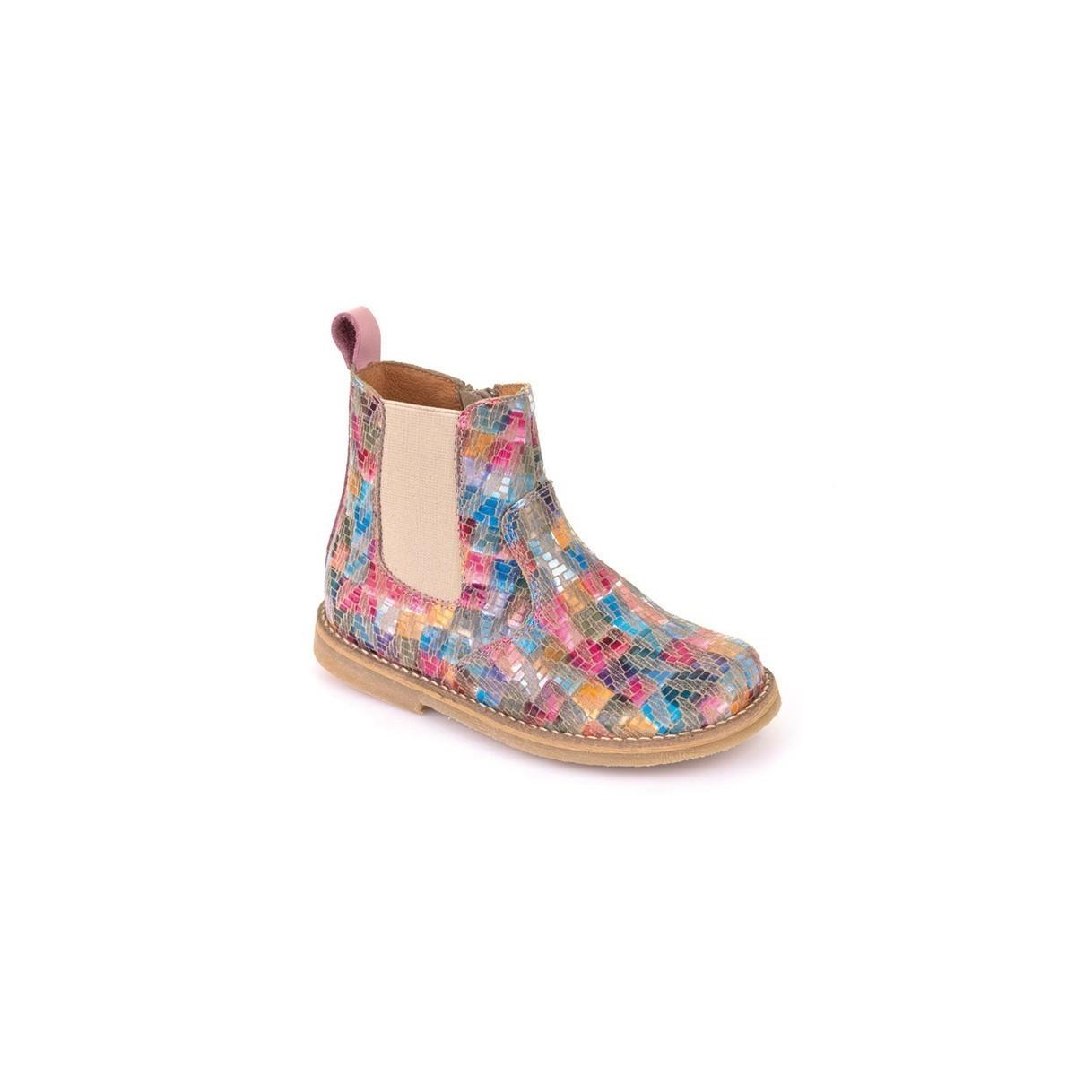 Boots zip cuir multicolore