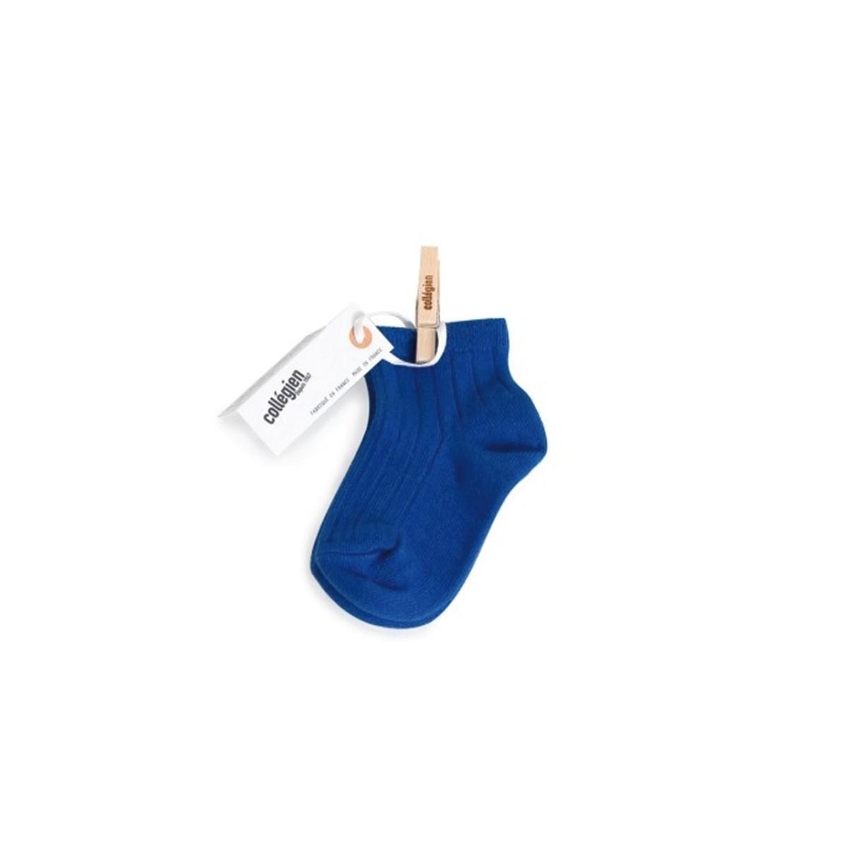 Chaussette courte à côte Bleu Eclatant