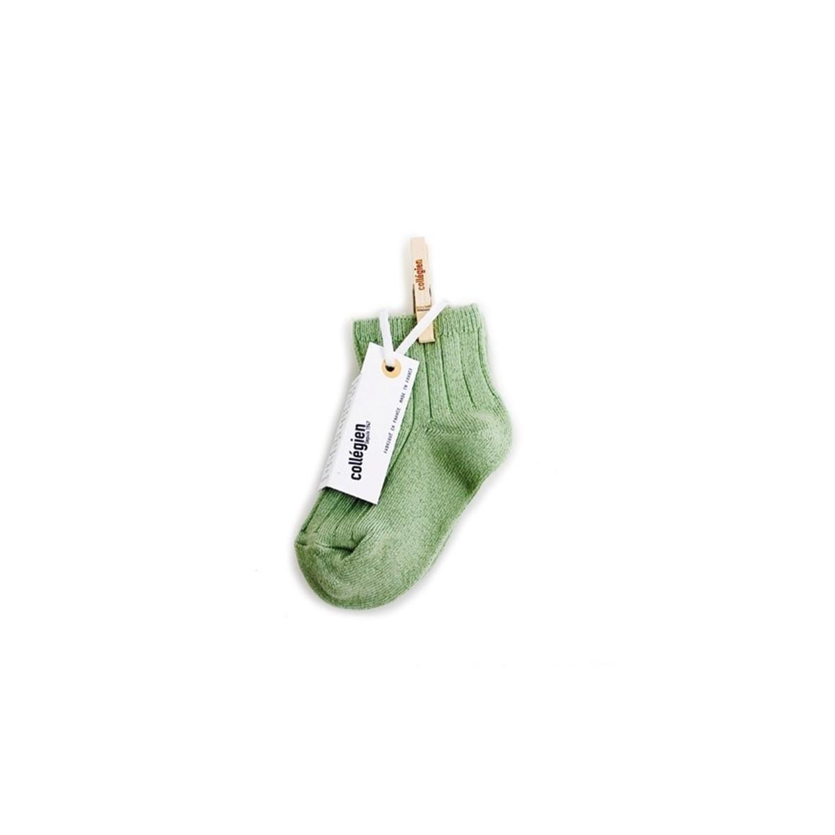 Chaussette courte à côte Vert Tilleuil