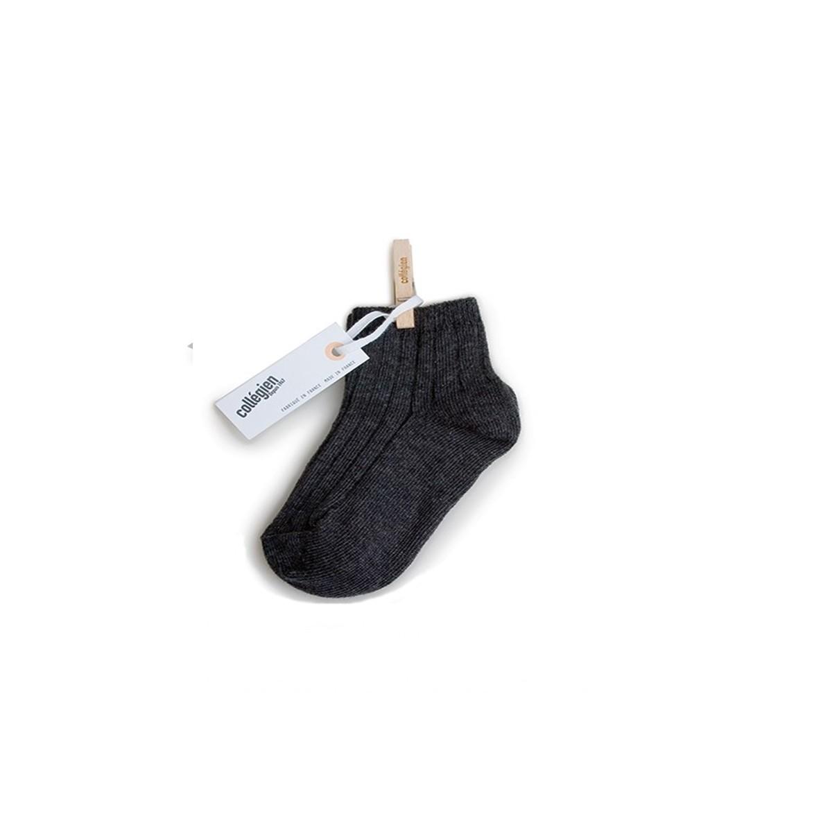 Chaussette courte à côte Poivre