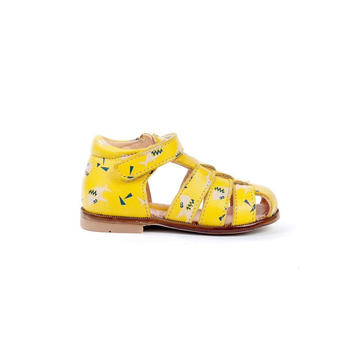 Sandale montante fermée cuir jaune imprimé dino
