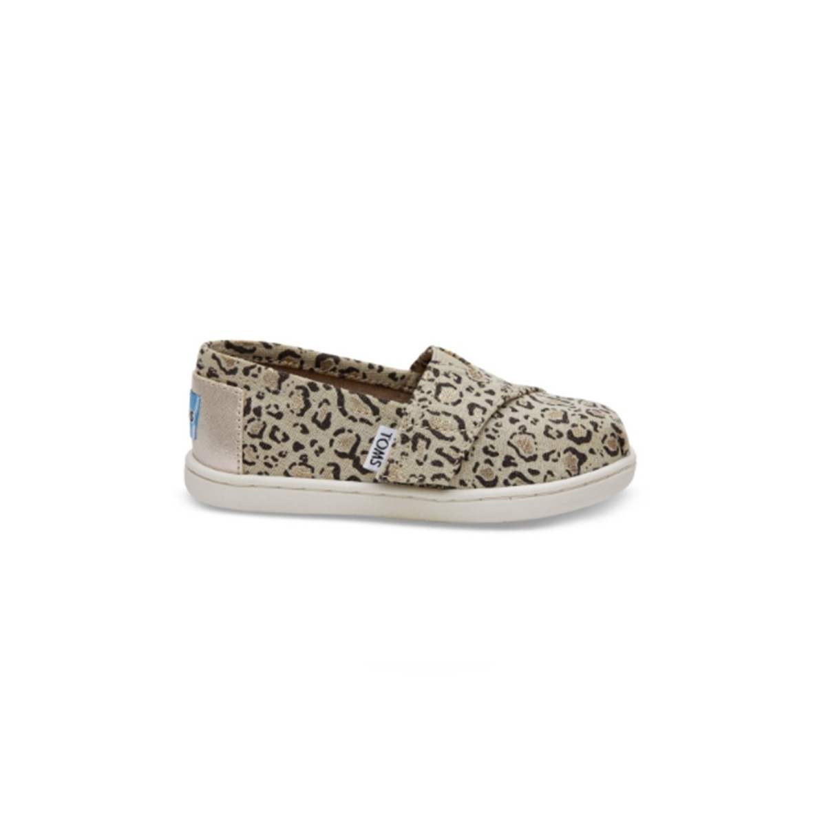 Chaussure toile imprimé chat beige/or velcro kids