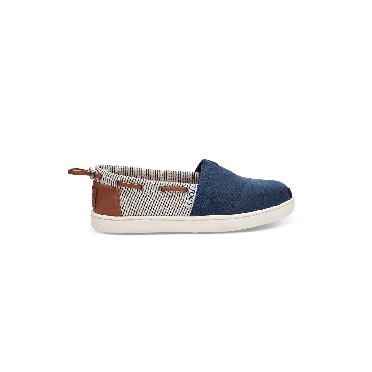Chaussures toile rayé bateau velcro junior
