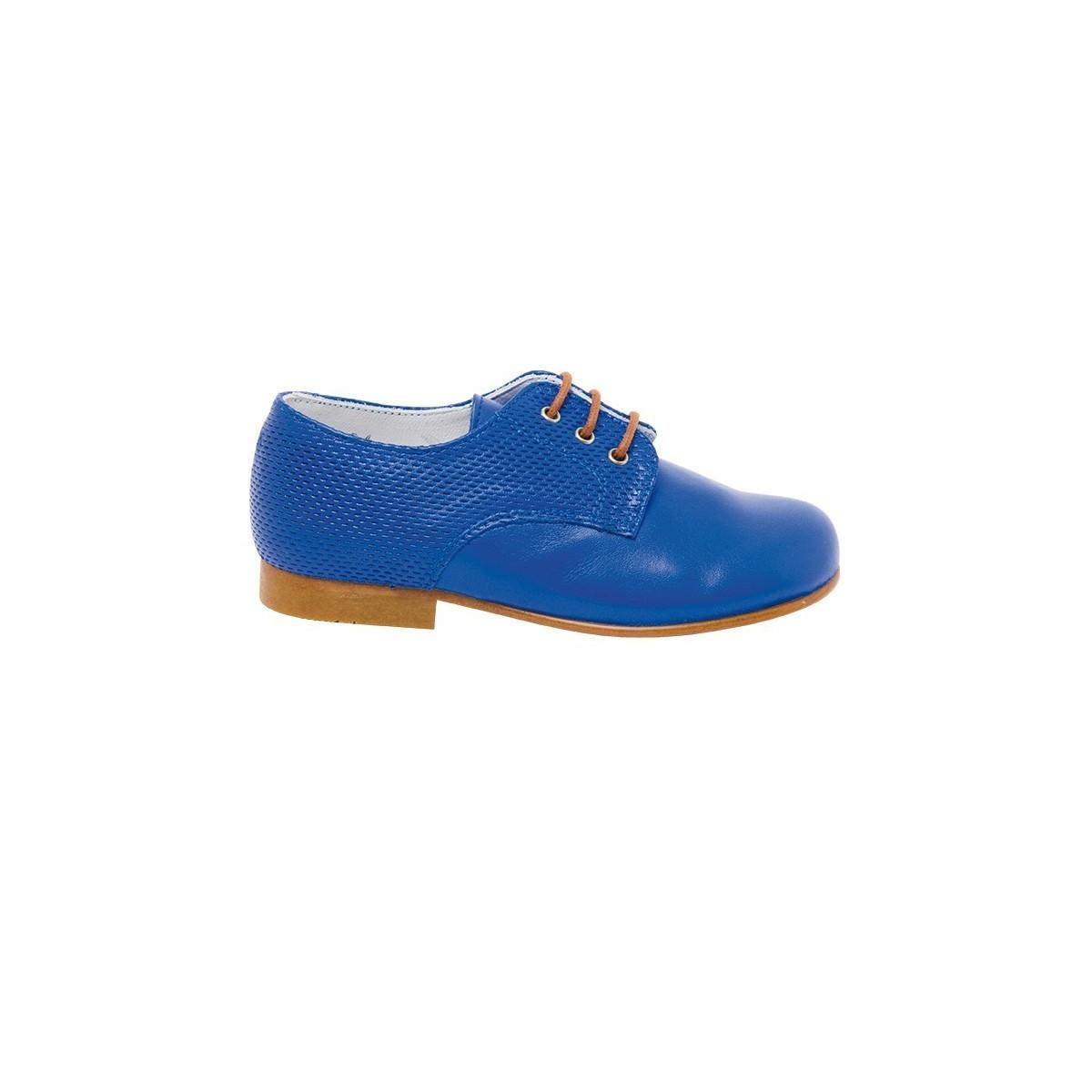 Derby Low cuir bleu électrique
