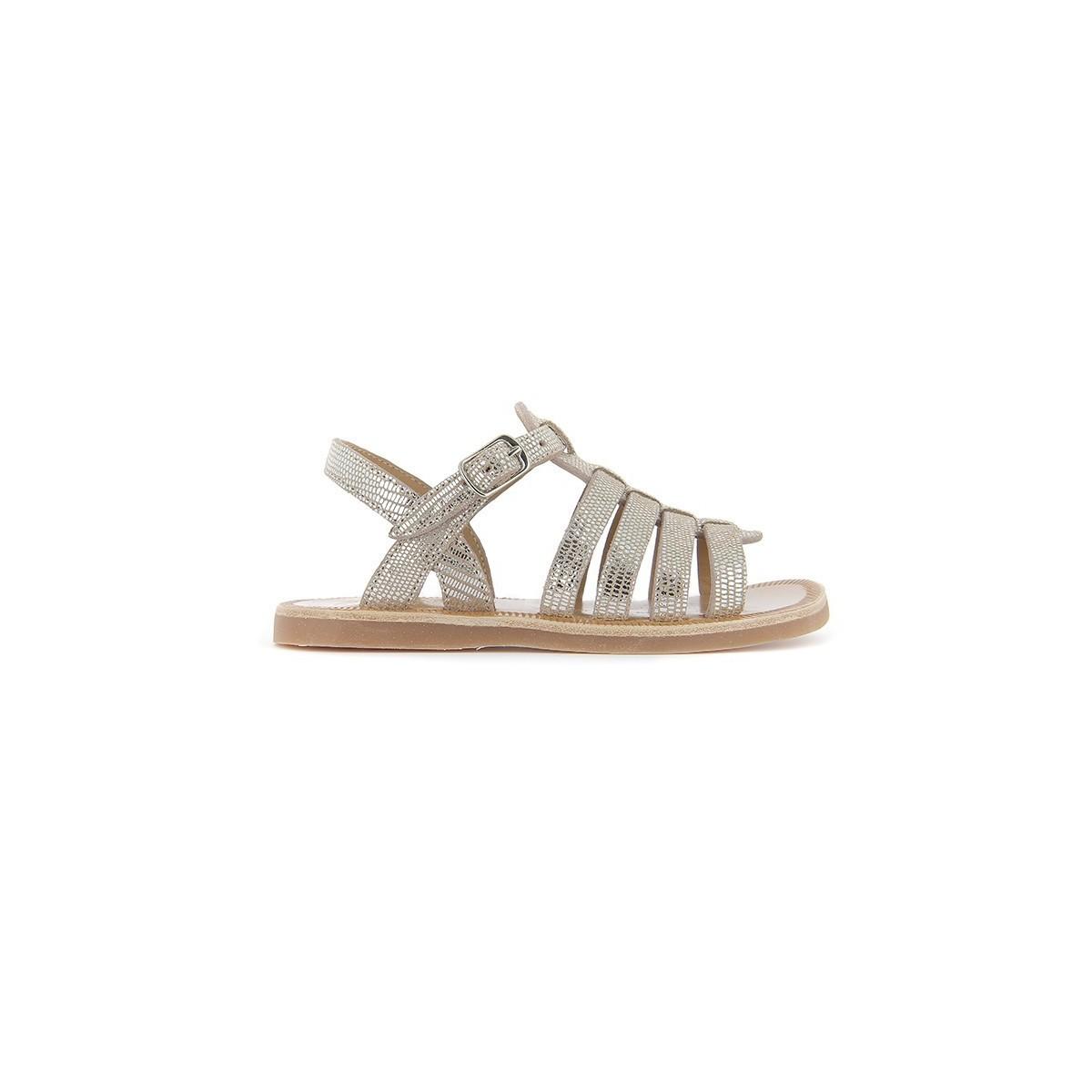 Sandale plagette strap 1 boucle cuir Beige/Argent