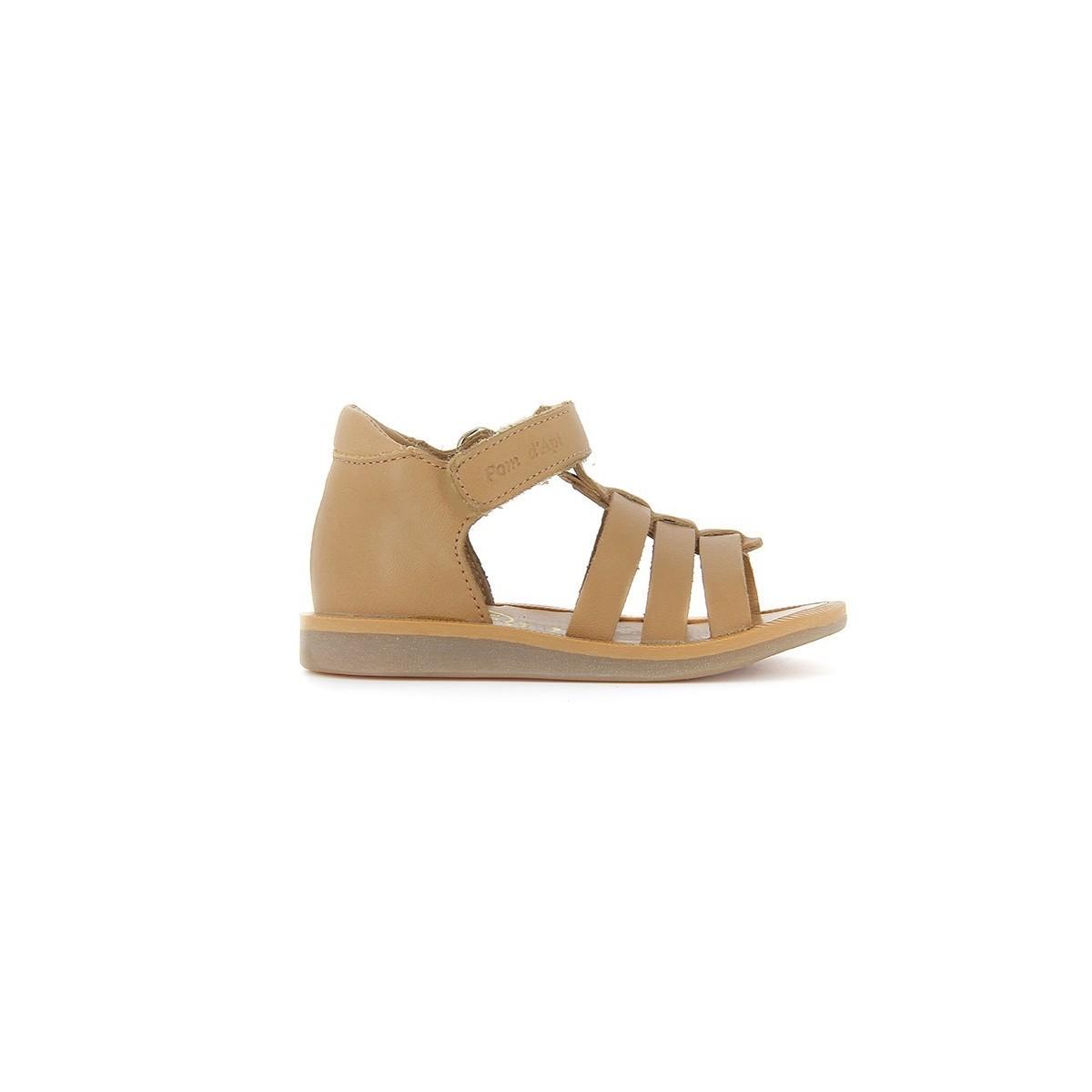 Sandale Poppy haute velcro cuir camel