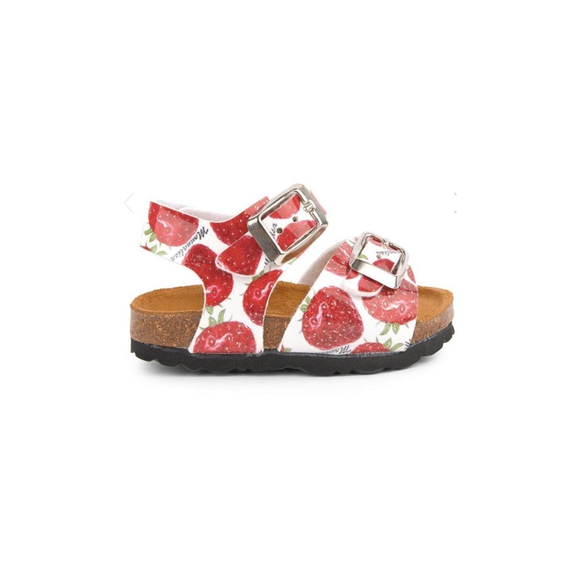 Sandale boucle imprimé Fraise