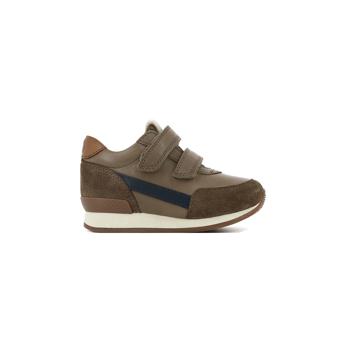 Basket Ten Jog cuir taupe/velour bleu