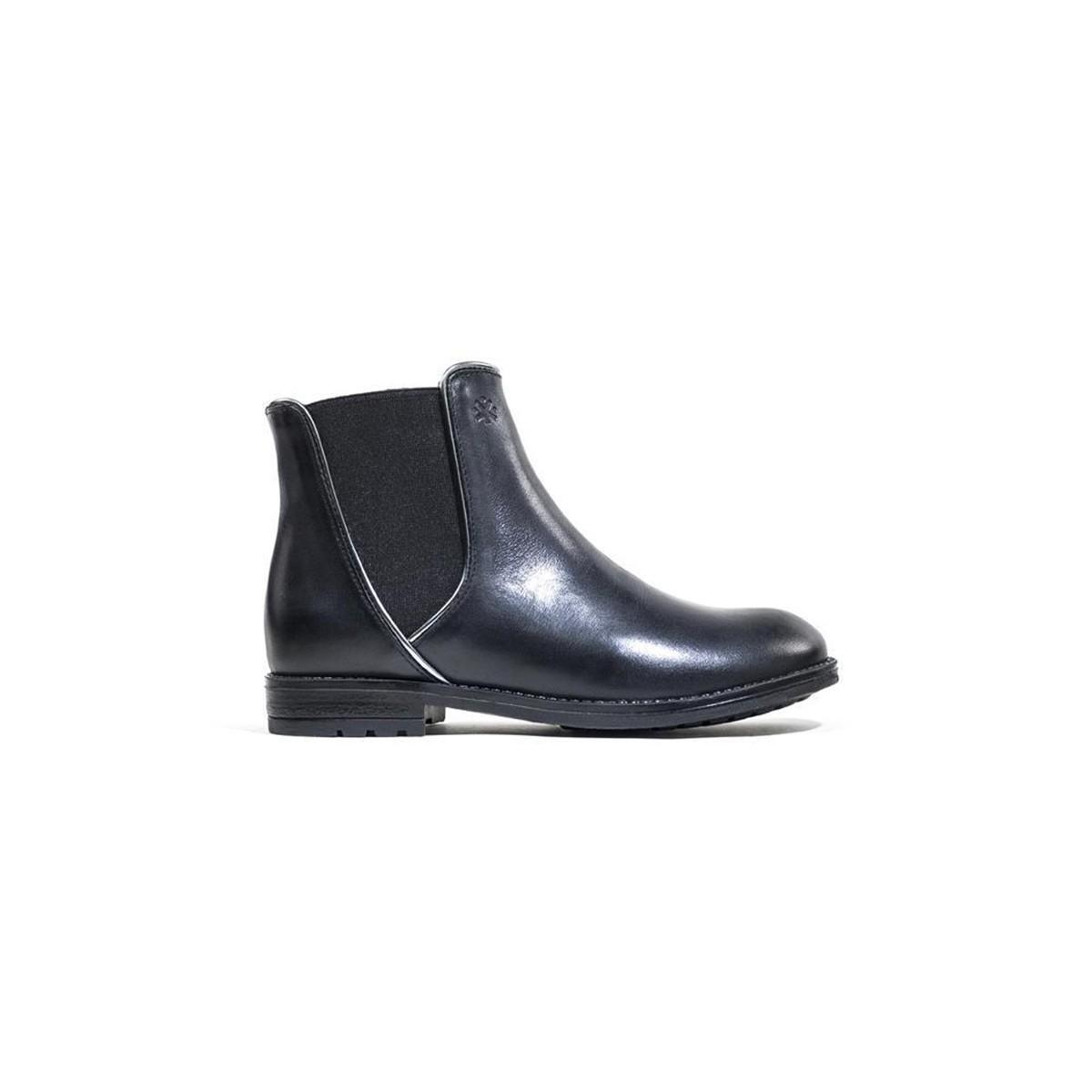Boots noir élastique large bord argent