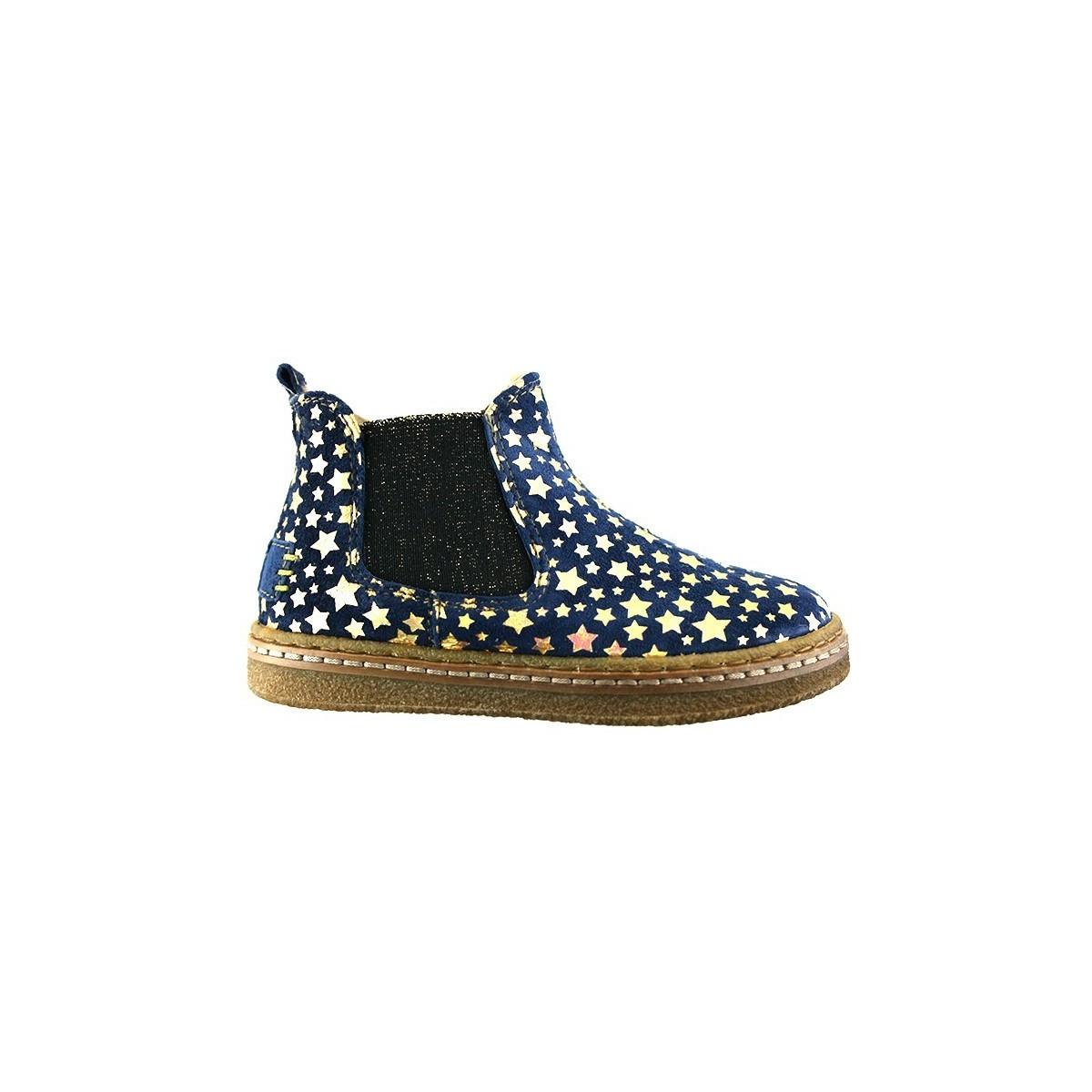 Boots cuir bleu étoile