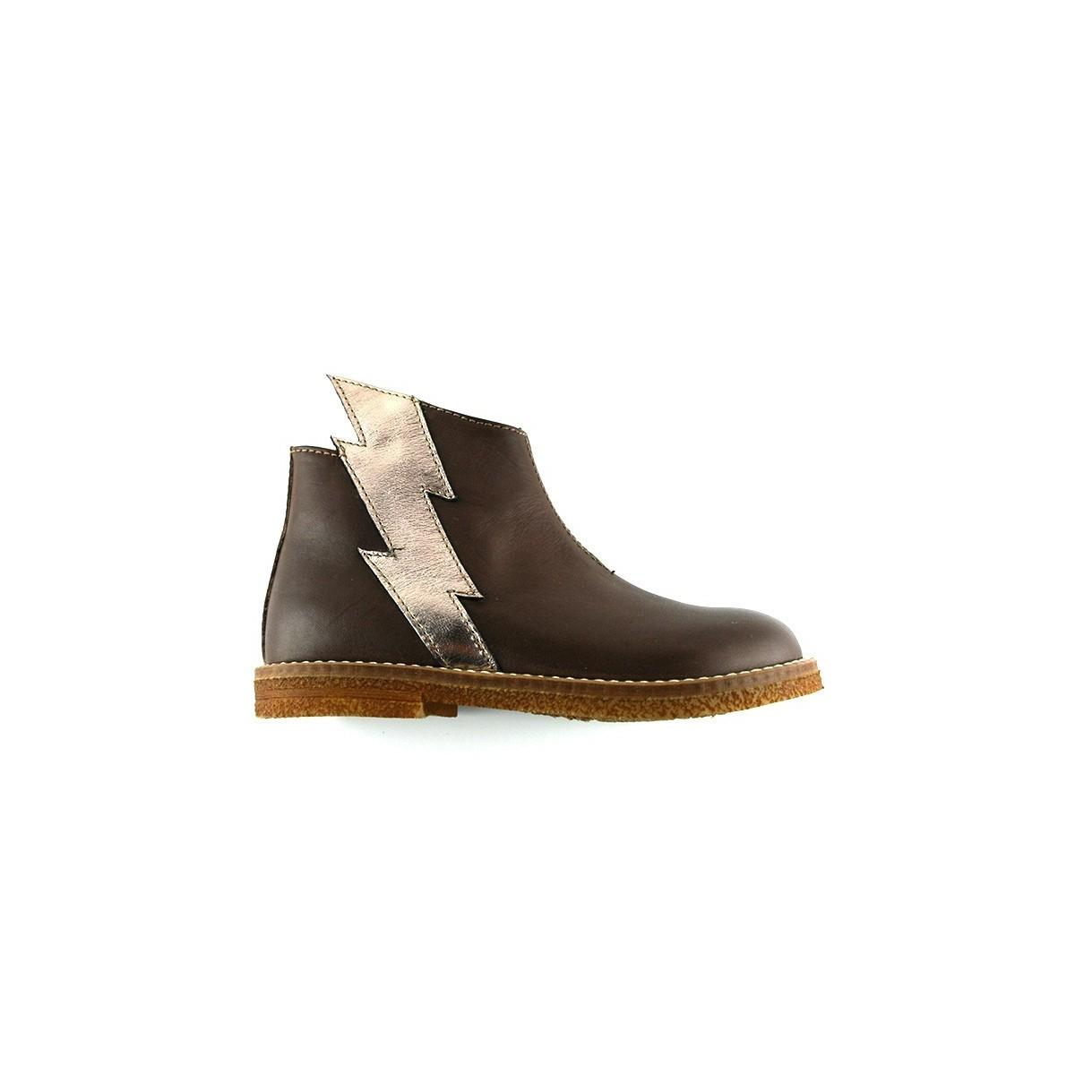 Boots éclair cuir gris perle/gold rose