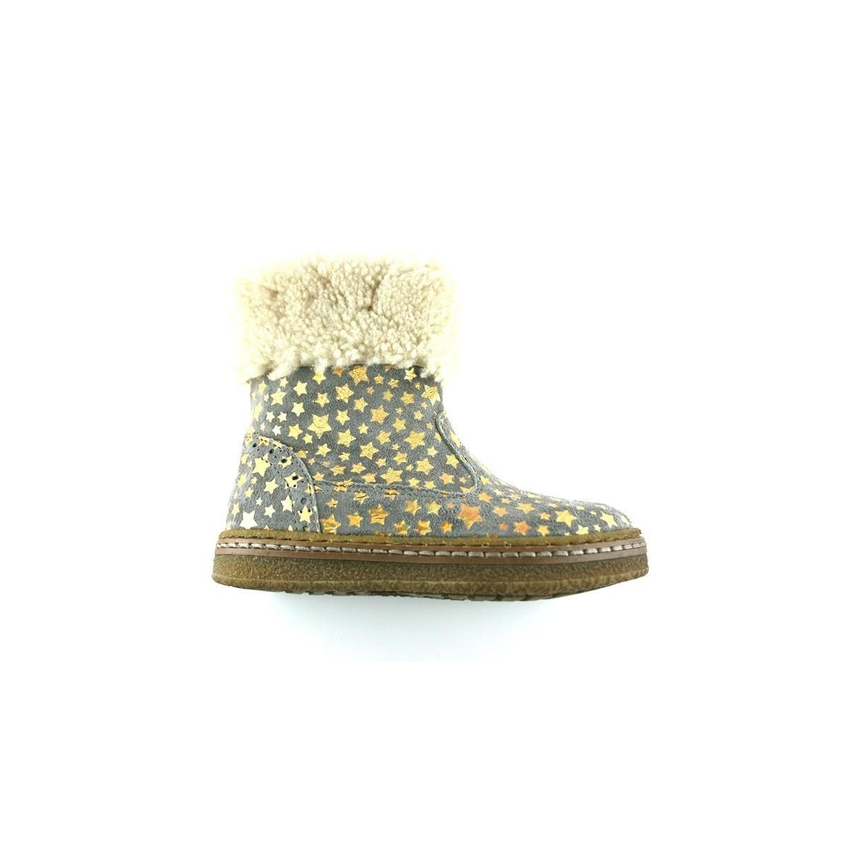 Boots fourrée cuir gris étoile