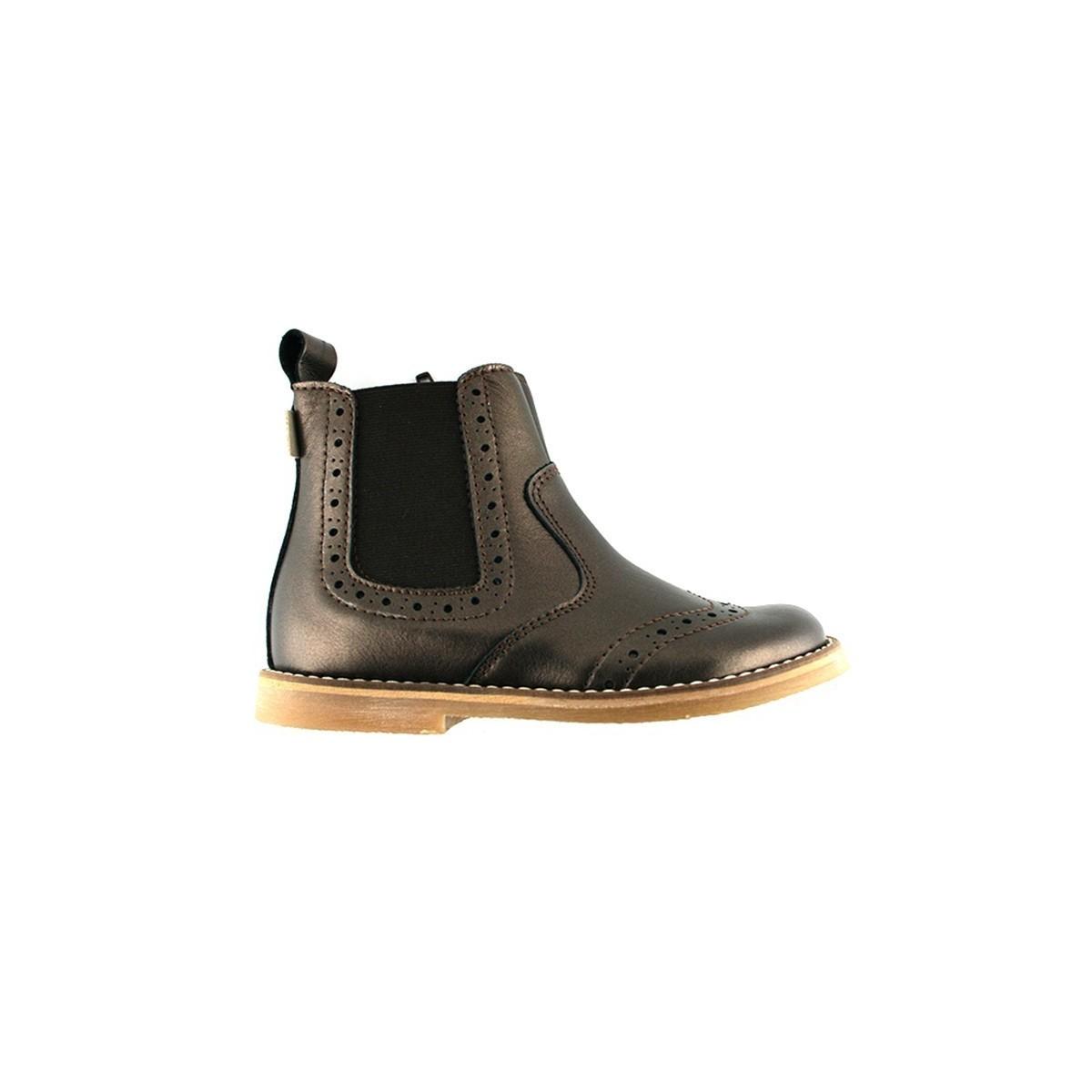 Boots chelsea cuir bronze surpiqué