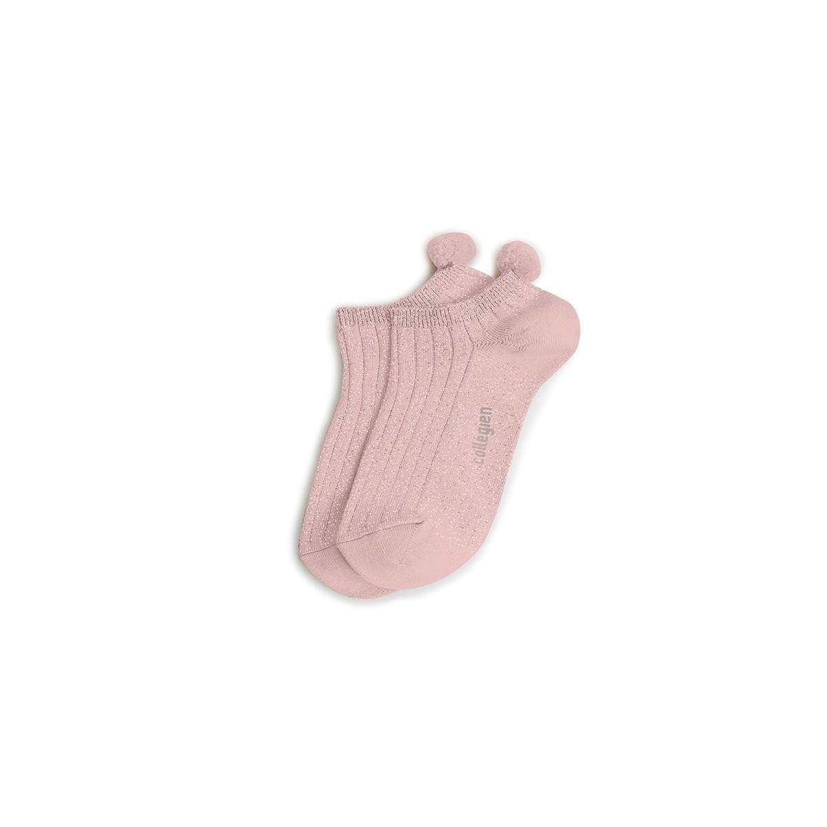 Chaussette à côte Pomponette Rose Quartz