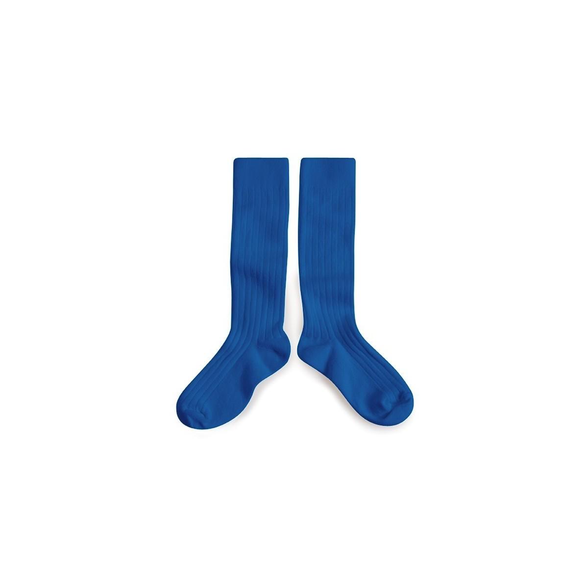 Chaussette haute à côte Bleu Eclatant