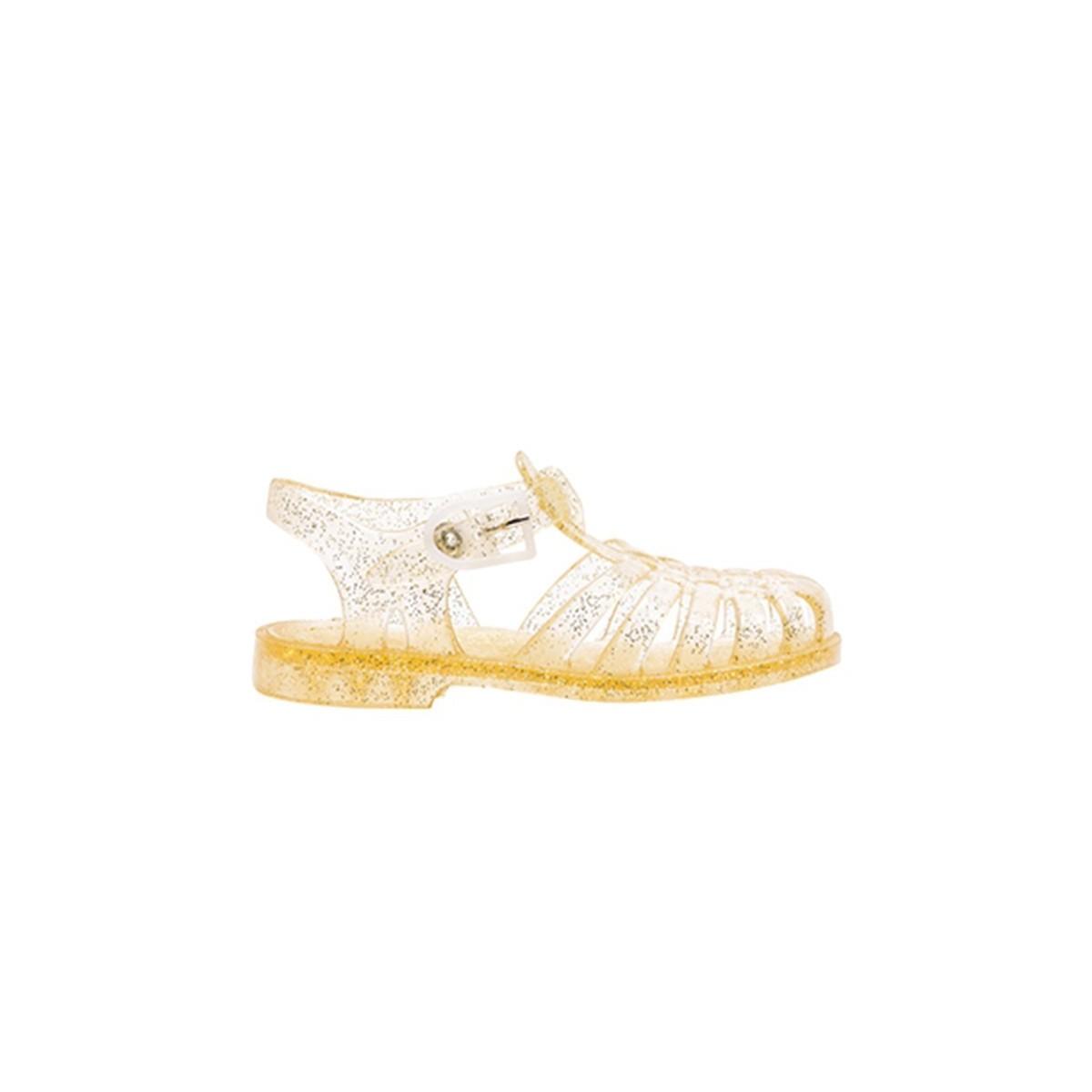 Sandale Méduse doré paillettes