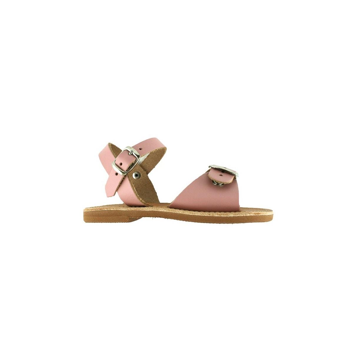 Sandales grecques Egée cuir rose poudre