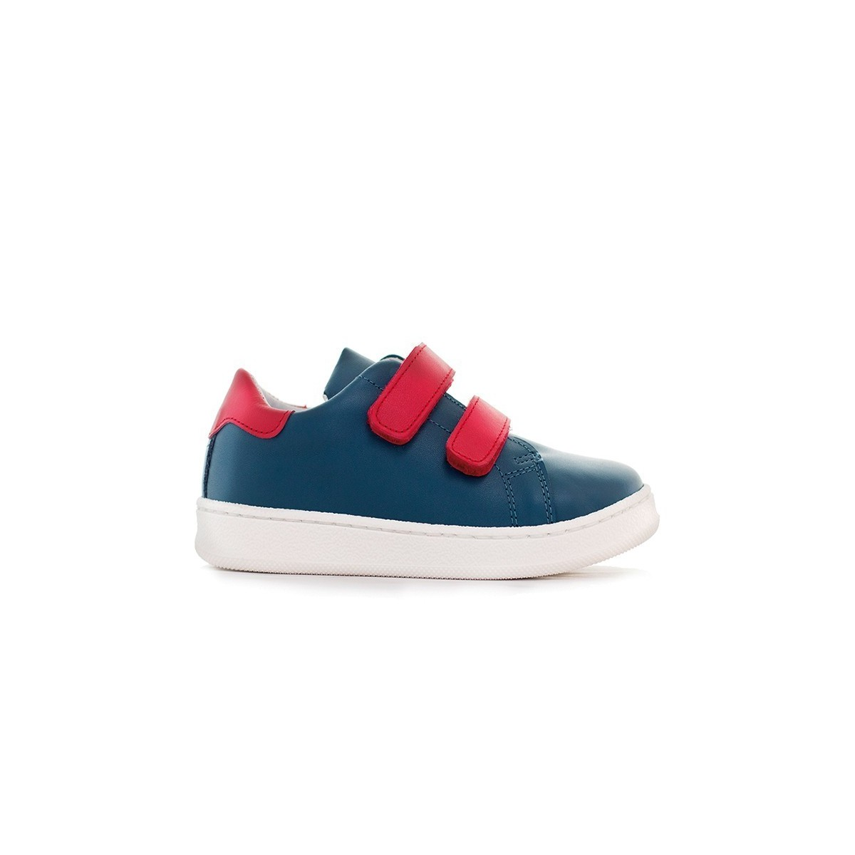 Basket Moonwalk cuir bleu marine/rouge
