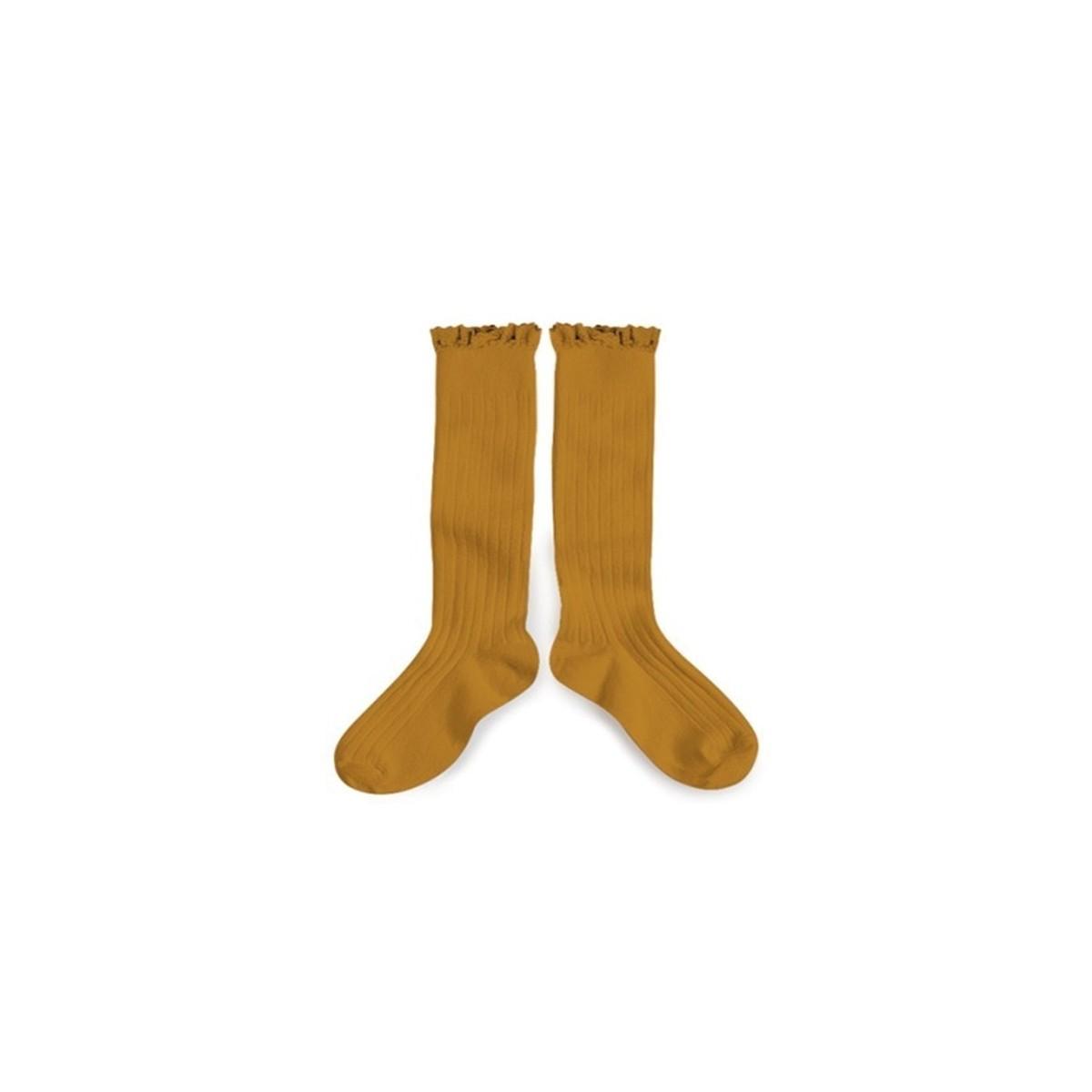 Chaussettes hautes avec dentelle moutarde de dijon
