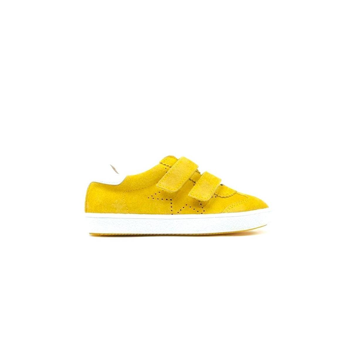 Basket Acebos velcro nubuck jaune