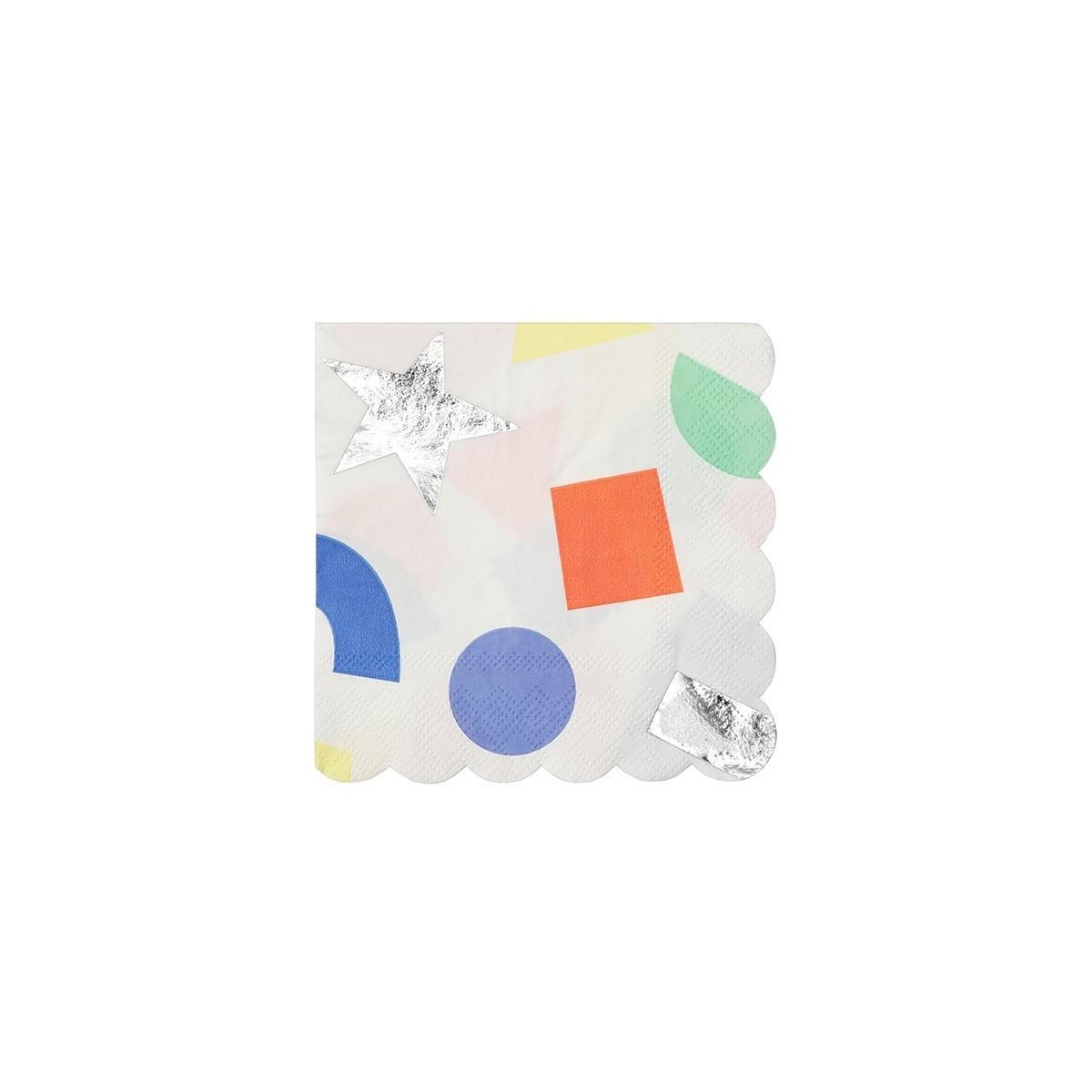 Petites serviettes Argentées géométrique