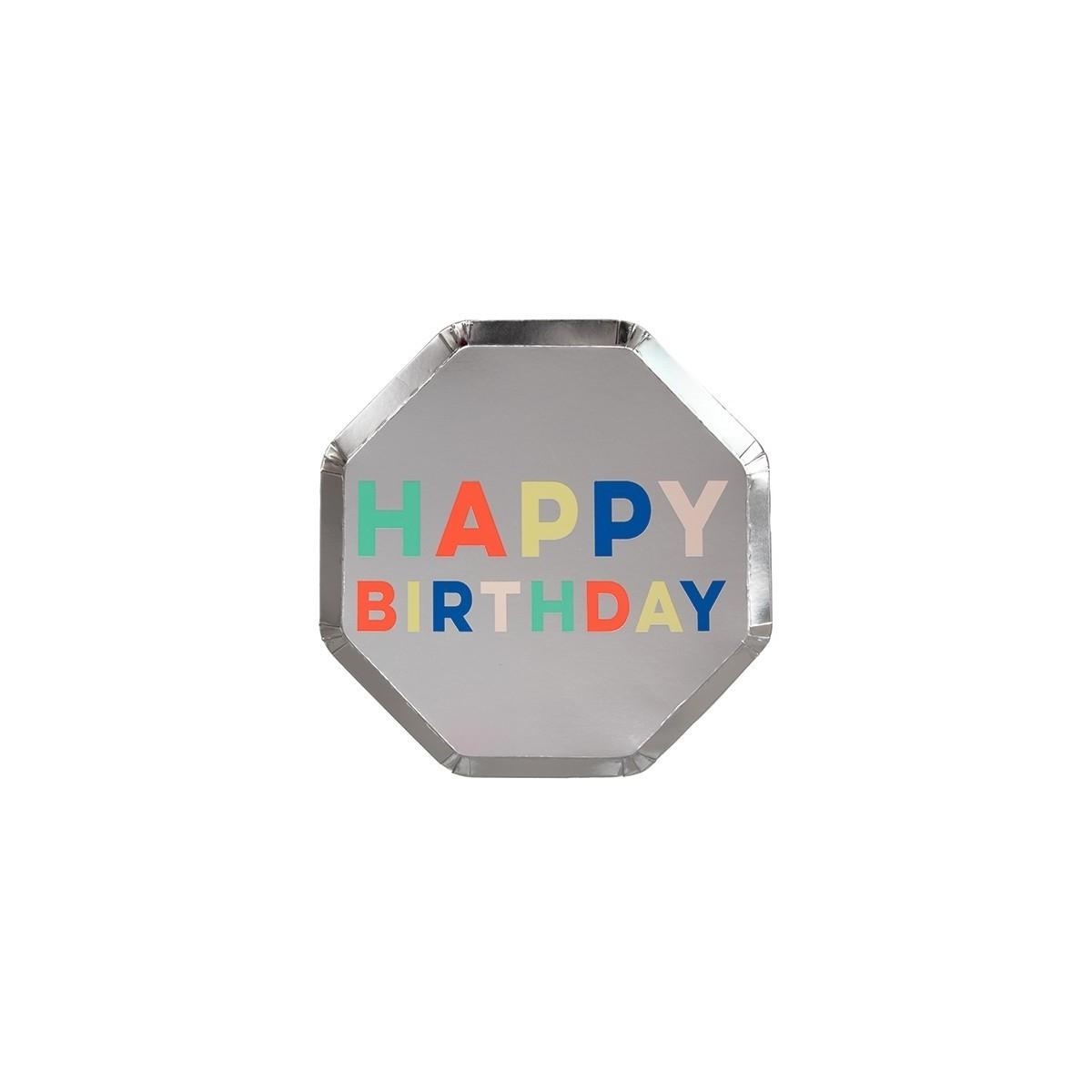 Petites assiettes argentée happy birthday