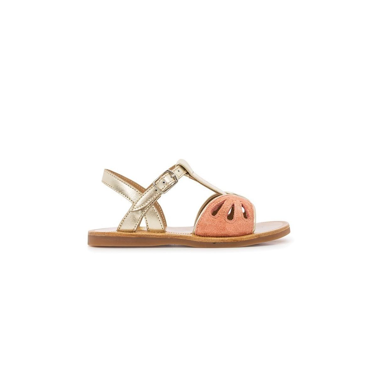 Sandale Plagette Daisy Laminato/Corail/PlatinE