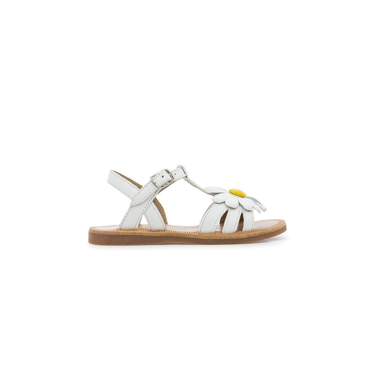 Sandale Plagette Big Flower Blanc/Jaune
