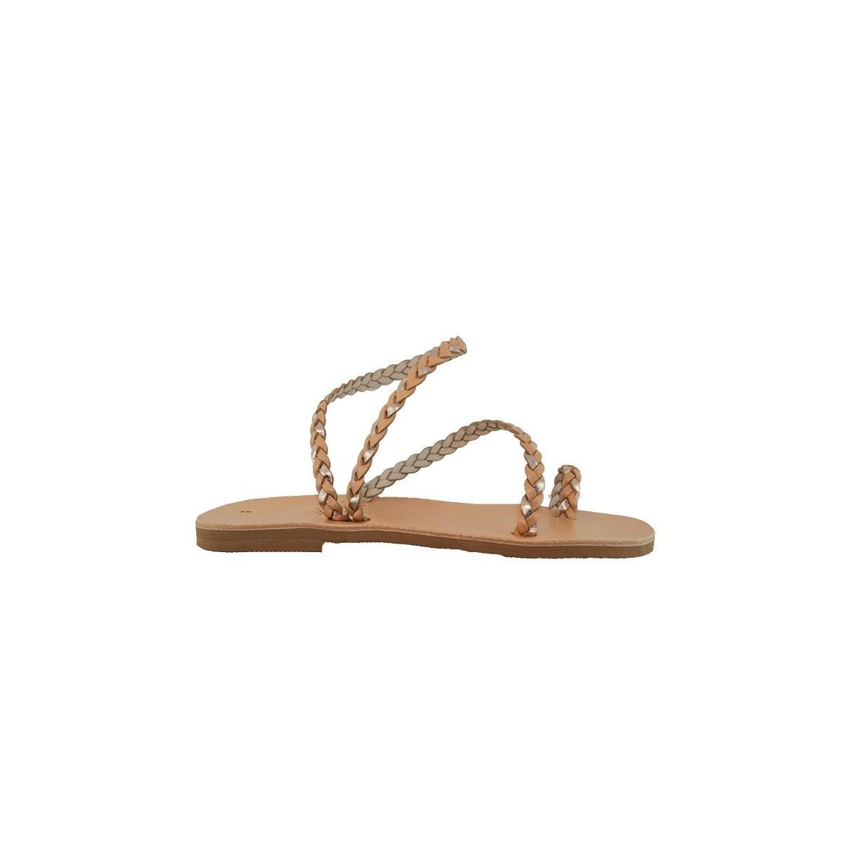 Sandale Grecque Paros Doré/Naturel