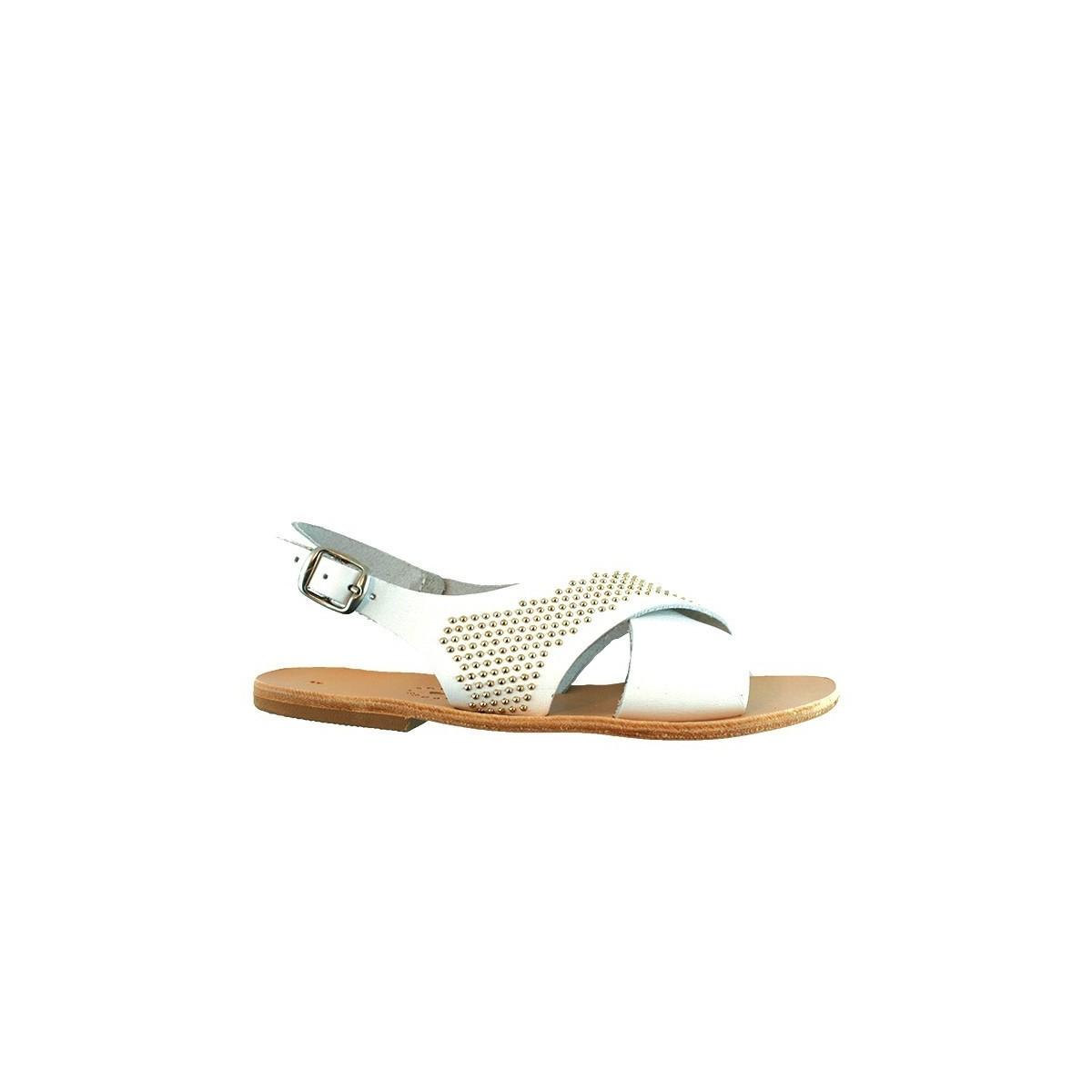 Sandale Greque Elos Blanc/Clou doré