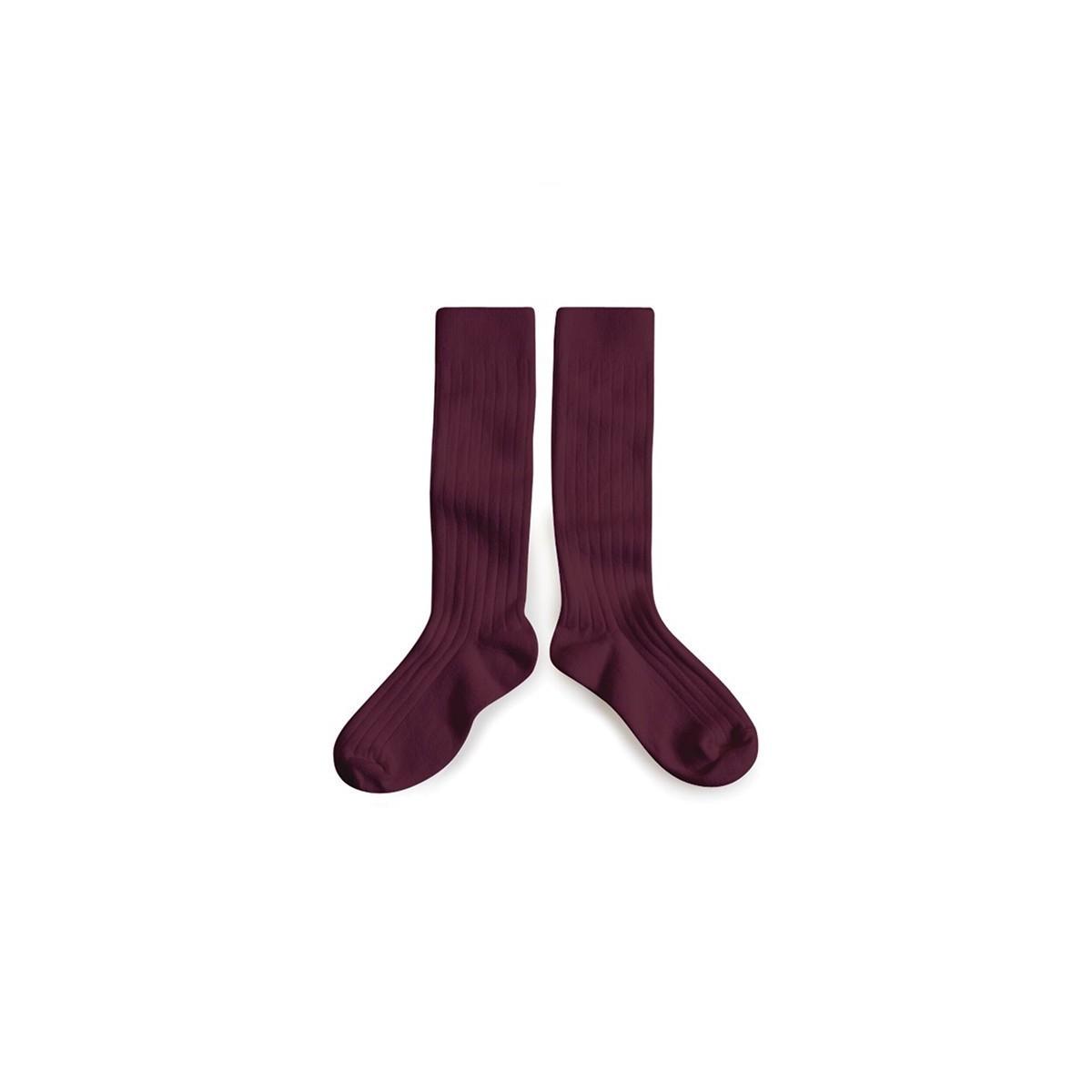 Chaussettes hautes Aubergine