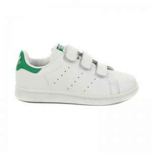 Basket Stan Smith 3 velcros blanc/vert