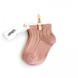 Chaussettes courtes à côte Vieux Rose