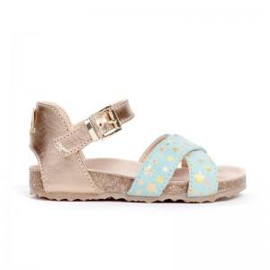 Sandale brides croisées cuir aqua/star