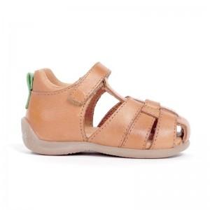 Sandale fermée multibrides cuir camel