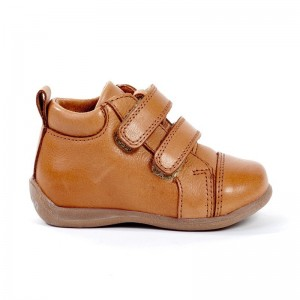Bottine 2 velcros cuir camel