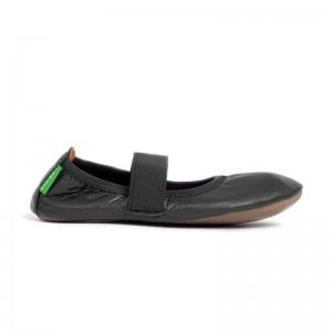 Chaussons cuir noir élastique
