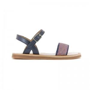 Sandale Plagette 1 boucle cuir Marine/Glitter
