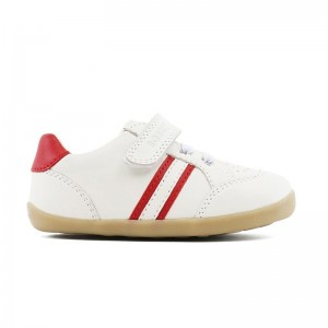 Step up basket basse en cuir blanc/rouge