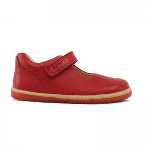 I walk babies velcro cuir rouge