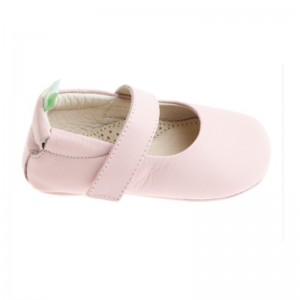 Babies souple velcro cuir rose candy