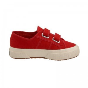 Basket velcro Superga toile rouge
