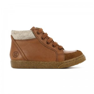 Basket Ten Base lacets cuir Camel/ laine ecru