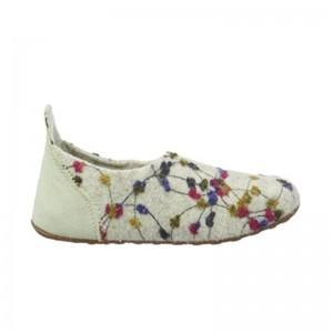Chausson en laine creme flowers