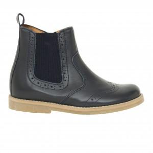 Boots chelsea cuir marine surpiqué