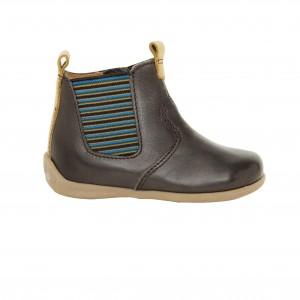 Boots chelsea cuir marron élastique