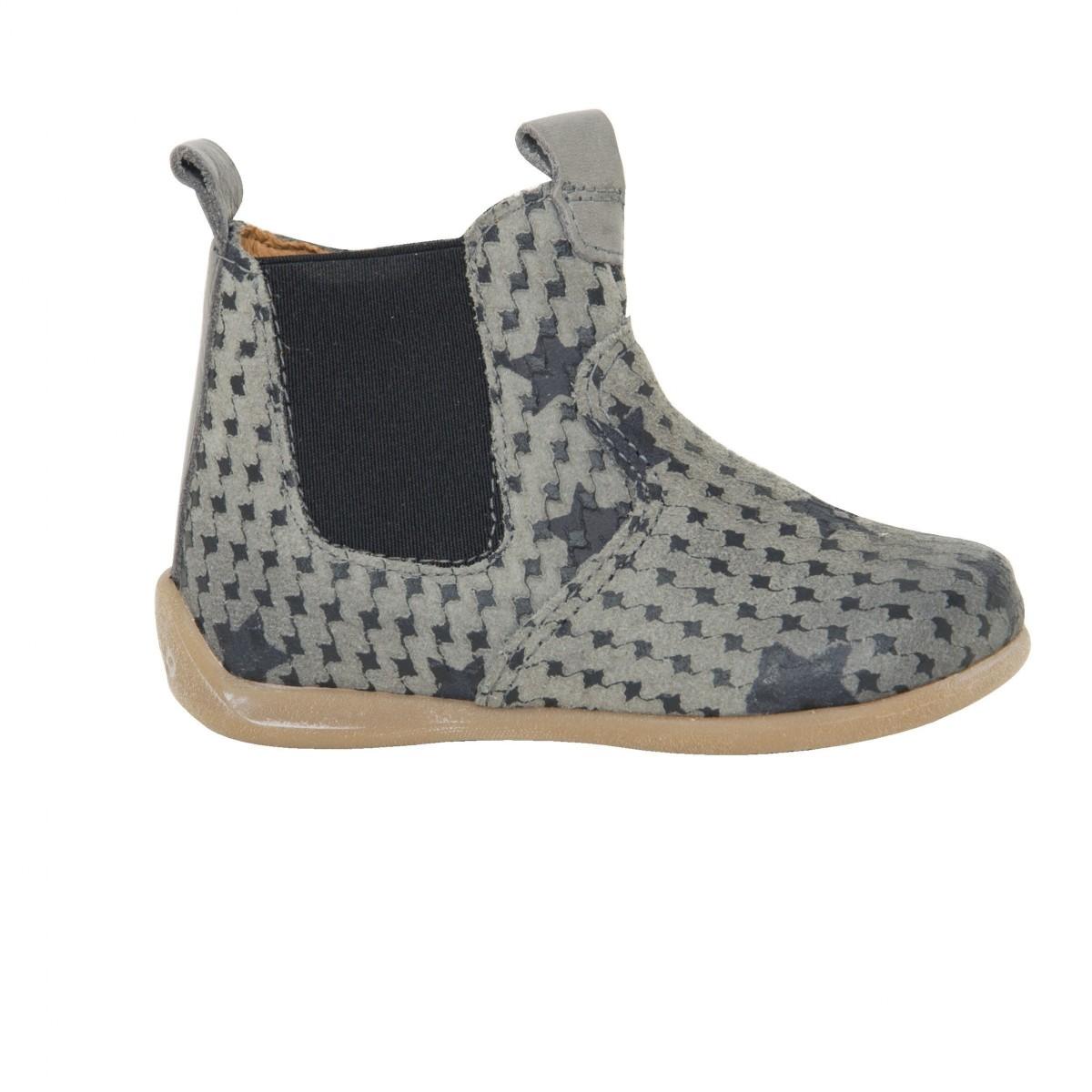 Boots chelsea cuir print gris étoile élastique