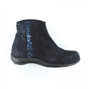 Boots Marjorie zip bande glitter peau marine