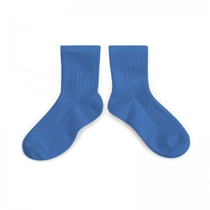 Chaussette courte à côte Bleu Cobalt