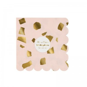 Serviettes de table PM confettis rose